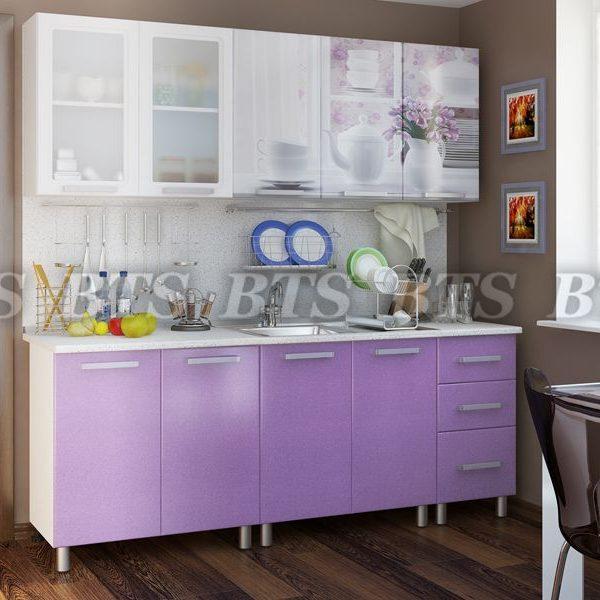 Кухня  Люкс Акварель 2,0 (цвет: лиловый сад)